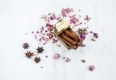 Blaszana puszka z menchia kwiatami i cynamonowymi kijami zdjęcie stock