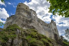 Blatnica castle, Slovakia. Blue sky at backgrond stock photos