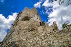 Blatnica castle, Slovakia. Tower of Blatnica castle, Slovakia royalty free stock images