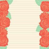 Blatt in Übereinstimmung mit dem Rahmen mit roten Rosen stock abbildung