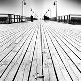 Blatt auf dem Pier Künstlerischer Blick in Schwarzweiss Stockbild