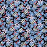 Blatt-Beeren und Blumen-abstrakter Raster-nahtloser Hintergrund stockfoto