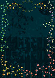 Blatt-buntes Feld mit Nachtzaun-Mond-Stern Stockbild