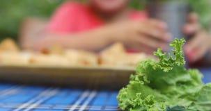 Blatt des frischen Salats auf Tabelle stock video footage