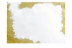 Blatt des Papiers A4 mit Flecken vom Kaffee Stockbild