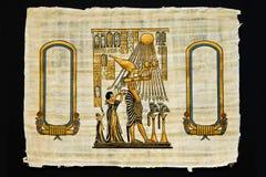 Blatt des Papyrusses mit alten Zeichnungen Lizenzfreie Stockbilder