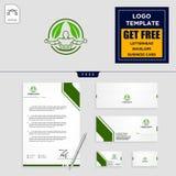 Blatt eco Eignungs-Logoschablone und Briefpapierentwurf stock abbildung