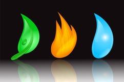 Blatt, Feuer und Wasser Stockfotos