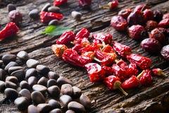 Blatt, Kiefernnüsse, trocknete rote Pfeffer und wild stieg auf hölzerne Hintergrundnahaufnahme Lizenzfreie Stockbilder
