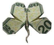 Blatt KLEE Shamrock-Blatt-Symbol des Geld-Origami-vier faltete sich mit wirklichen 20 Dollar Bill Isolated lizenzfreie stockfotos