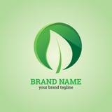 Blatt-Logo mit Kreis-Form-Design-Schablone Lizenzfreie Stockfotos