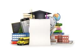 Blatt Papier auf dem Hintergrund des Schulbedarfs Abbildung 3D Lizenzfreies Stockbild
