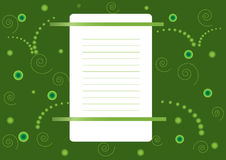 Blatt Papier auf einem grünen Hintergrund Lizenzfreie Abbildung