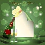 Blatt Papier, Glas und zwei Champagnergläser stock abbildung