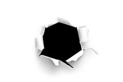 Blatt Papier mit einem runden Loch Stockbild