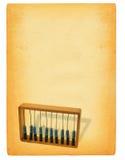 Blatt Papier mit Rechenmaschine stockfotos