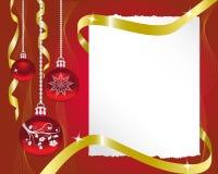 Blatt Papier und Weihnachtsdekorationen Stockfotografie