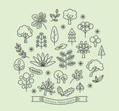 Blatt- und Baumikonenentwurfs-Artvektor Lizenzfreie Stockfotografie