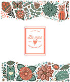 Blattgekritzelelemente, -illustration gemacht von den Blumen und -kräuter Stockfotos