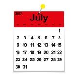 Blattkalender 2017 mit dem Monat Juli Stockbilder