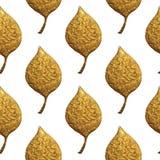 Blattmuster Goldhandgemalter nahtloser Hintergrund Goldene Illustration des abstrakten Blattes Stockbilder