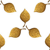 Blattmuster Goldhandgemalter nahtloser Hintergrund Goldene Illustration des abstrakten Blattes Stockfotos