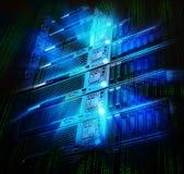Blattspeichersupercomputer des Rechenzentrums mit Spritzen und binär Code Stockfotos