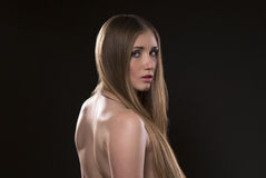 Blauäugige Blondine Stockfoto