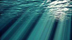 Blau bewegt, die Zeitlupe geschlungene Ozeanoberfläche wellenartig, die vom Unterwasser-uhd gesehen wird, die nahtlosen Strahlen  vektor abbildung