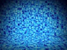 Blau deckt leeren Innenraum der Sauna mit Ziegeln Lizenzfreie Stockbilder
