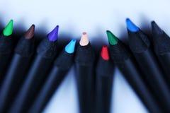 Blau farbige Bleistifte Lizenzfreie Stockfotos