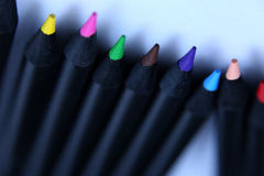 Blau farbige Bleistifte Stockfoto