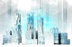 Blau farbige moderne Stadtbildpanorama-Ansichttapete lizenzfreie abbildung