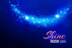 Blau funkt und spezieller Lichteffekt des Sternfunkelns Funkelnde magische Staubteilchen Heller Aufflackernspezialeffekt mit Stra lizenzfreies stockfoto