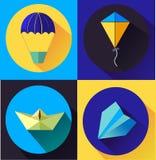 Blau-gesetzte flache Art-Ikonen mit langem Schatten Konzept für die Entspannung Stockfotografie