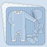Blau gestrickte Sammlung Stockfoto