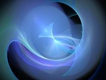 Blau glühender abstrakter Fractal mit Kreislinien und Wellen Lizenzfreie Stockfotos