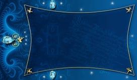 Blau-Goldhintergrund-Plan Stockfoto
