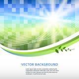 Blau-grün-Mosaik-Hintergrund-Quadrat-Aufkleber-Produkt Lizenzfreies Stockbild