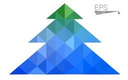 Blau, Grünniedrige Polyart-Weihnachtsbaumillustration, die aus Dreiecken besteht Lizenzfreie Stockfotografie
