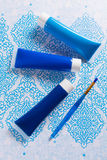 Blau, Indigo, Kobaltfarben - Haupt-interieur Konzept des Entwurfes, an Lizenzfreie Stockfotos