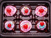 Blau-purpurrote kleine Kuchen des strengen Vegetariers mit Kirsche auf die Oberseite Stockfotografie