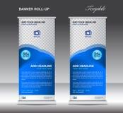 Blau rollen Sie oben Fahnenstandschablonen-Anzeigenplakat Lizenzfreies Stockbild