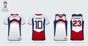 Blau-Rot-weiße Sporthemd-Designschablone für Fußballtrikot, Fußballausrüstung und Trägershirt für Basketballtrikot Sportuniform lizenzfreie abbildung