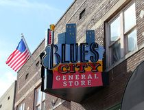 Blau-Stadt-Gemischtwarenladen, Beale-Straße Memphis, Tennessee Stockbilder