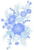 Blau stickte Weinlese-Stickereivektor der Blumenblumenstraußfeldmodefleckengewebeverzierung traditionellen ethnischen Lizenzfreies Stockfoto