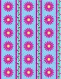 Blau-Tapete des Vektorenv 10 mit rosafarbenen Blumen und Lizenzfreies Stockfoto