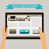 Blau und Beige färbten Begriffsillustration in der modischen flachen Art auf Thema des Hauptdesigns mit Website mit Innenelemente Stockbild