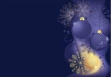 Blau- und Goldweihnachtshintergrund Lizenzfreies Stockfoto