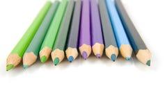 Blau und Grün farbige Bleistifte Lizenzfreies Stockbild